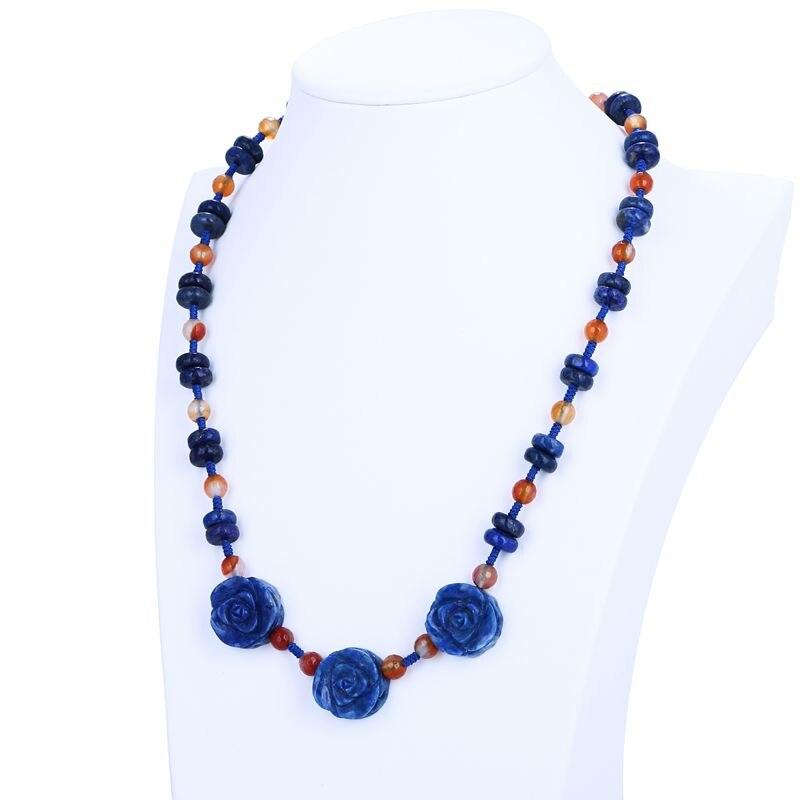 wholesale gemston.Design Natural Lapis Lazuli Carving Flower Necklace Pendant-Handwoven Necklace,Length 46cm,18x7mm,6x6mm,39g alloy rose flower pendant necklace