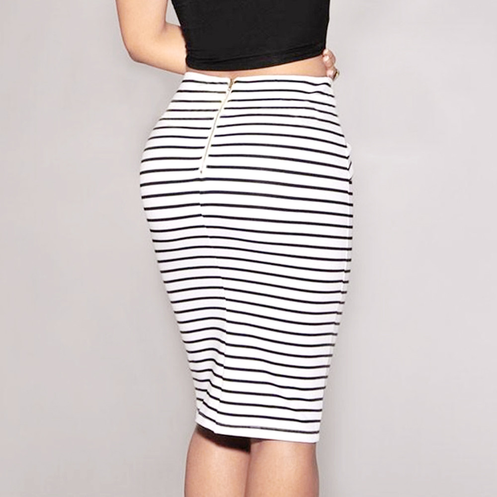 2019 Latest Spring&Summer Women Striped Skirt Sexy Slim Short Pencil Skirts Bow Tied Skirt New Bandage DressZ0311