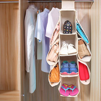 WHISM Storage Bag Over The Door Shoe Bag Storage Container Space Saver Organizer Non Woven Wardrobe