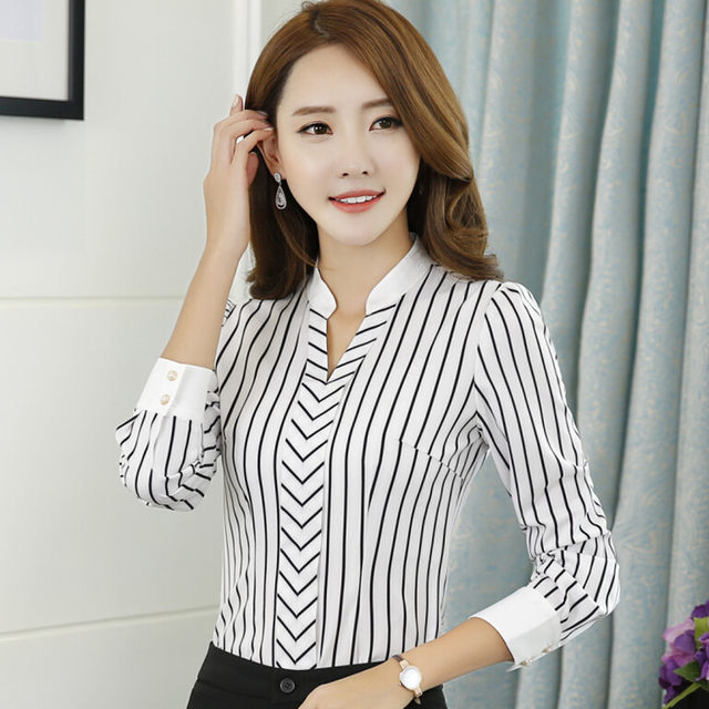 c4dacaee974 New OL fashion V-neck stripe blouses women elegant slim formal long sleeve  chiffon shirt office ladies plus size work wear tops