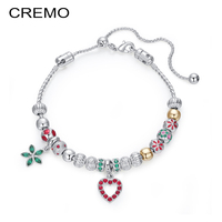 Cremo Beads Bracelet Heart Bead Rhinestone Accessories Delicate Charms Handmade Making Comfort Fit Replaceable Elegant Jewelry