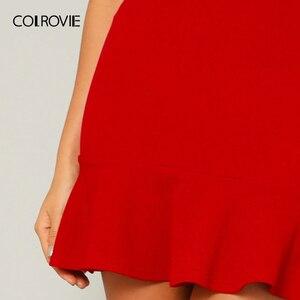 Image 4 - Женская офисная юбка карандаш COLROVIE, красная однотонная вечерняя мини юбка с оборками на подоле, лето 2019