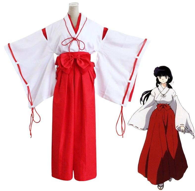 Anime Inuyasha Higurashi Kagome Kimono Cosplay Costume Kikyo Full Set Mikofuku Costume
