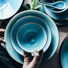 KINGLANG Japanese ice crack glazed lake blue color bowls tableware household rice bowl ceramic fruit salad bowl