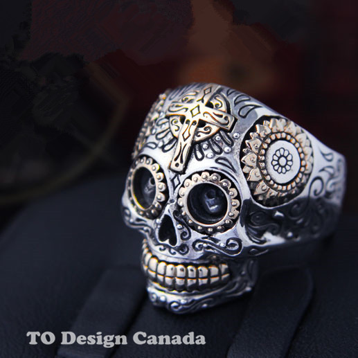 Solid 925 Sterling Silver SKULL Ring golden sugar skull jewelry