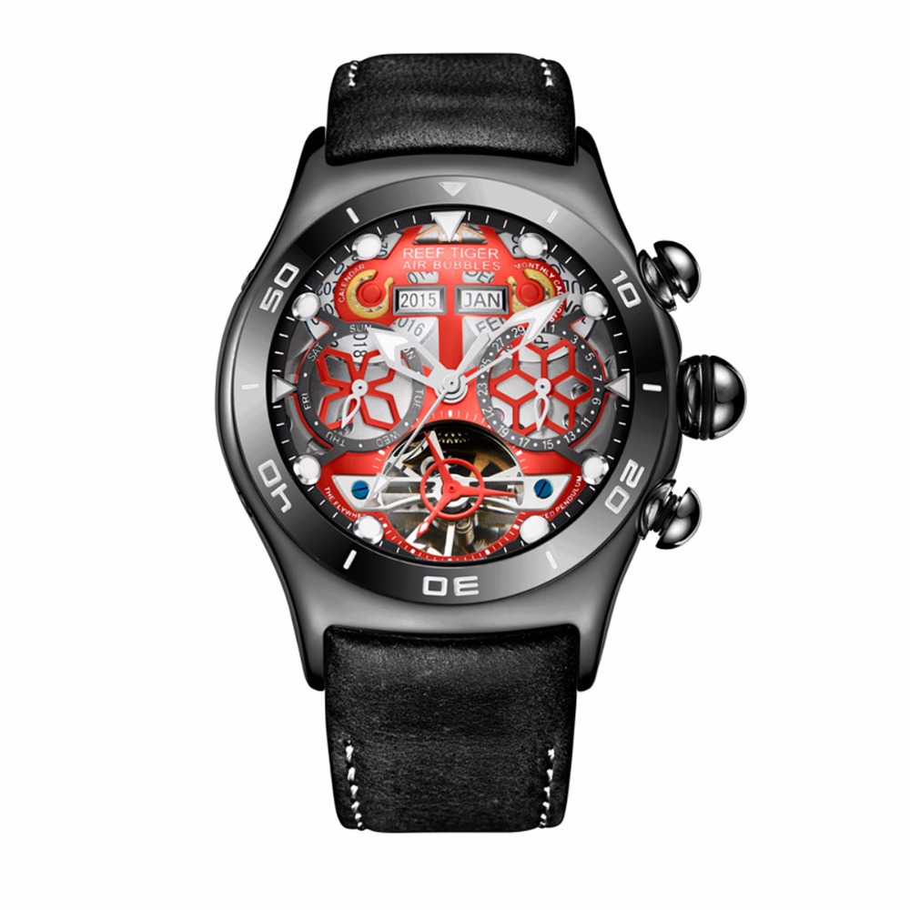 Reef Tiger/RT Mens Sport Watches Year Month Date Day Luminous Black Steel Skeleton Dial Automatic Watches for Men RGA703 2x yongnuo yn600ex rt yn e3 rt master flash speedlite for canon rt radio trigger system st e3 rt 600ex rt 5d3 7d 6d 70d 60d 5d