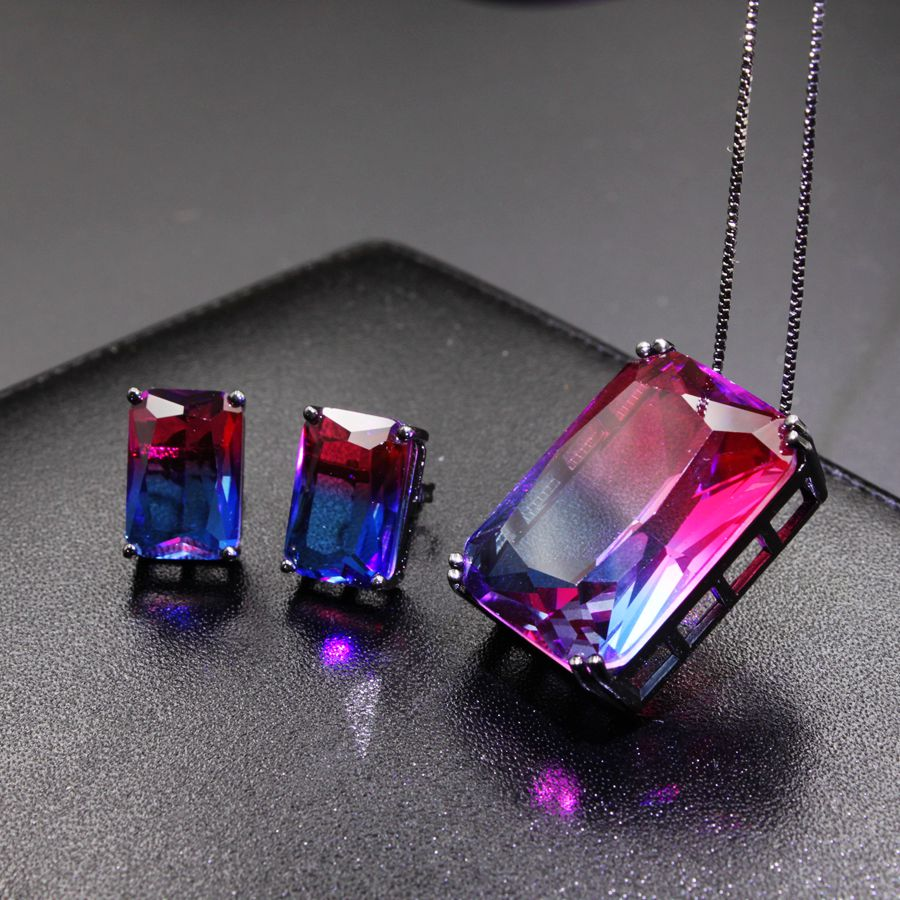 NEW Square Drop Jewelry Sets For Women Fashion Jewellery Multicolor nature stone crytal glass Stud Earrings and pendant necklace water drop jewelry sets for women fashion jewellery nature stone with crytal glass stud earrings and pendant necklace of party