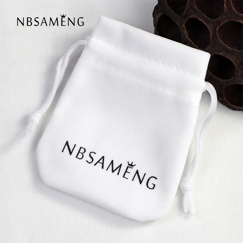 NBSAMENG Brand White Flannelette Gift Bag Pouches For Necklace Bracelet Earring Jewelry Packaging BX005