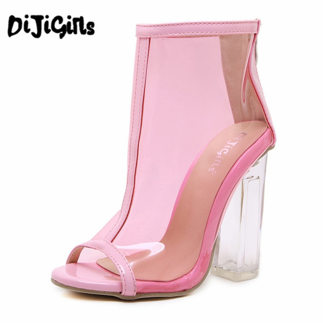 1c765d3d7e1 Pink White Women Summer PVC Clear Heel Transparent Boots Peep Toe Ankle  Boots Bootie Block High Heel Pumps Sandals