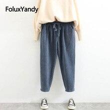 Corduroy Pencil Pants Women Casual Trousers Plus Size Loose 4 Colors SWM1257
