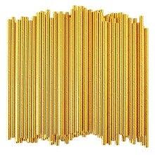 LBER Золотая фольга бумажные соломинки, биоразлагаемые одноразовые трубочки для питья на вечеринке, упаковка из 100 праздничных торжеств