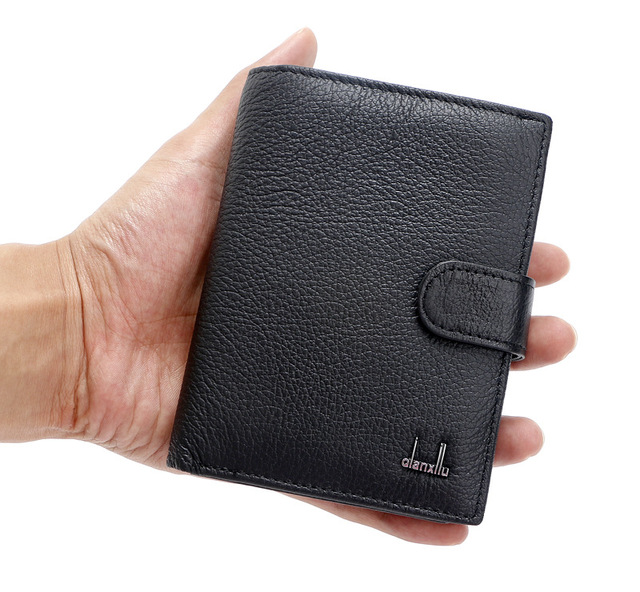 2016 New 100% Genuine Leather Men's Wallets Passport Cover Cowhide Passport holder short Purse Brand Male travel accessories