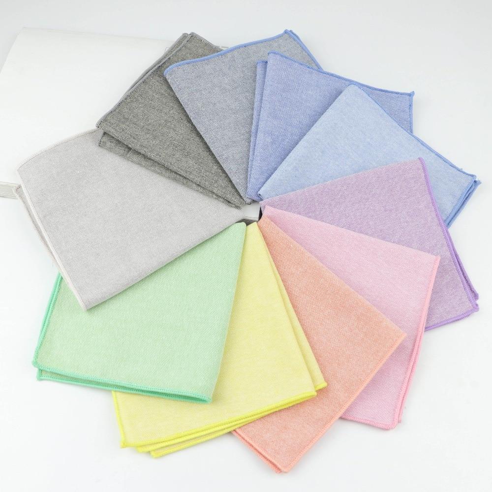 Handkerchief Scarves Vintage Cotton Solid Color Hankies Men's Pocket Square Handkerchiefs