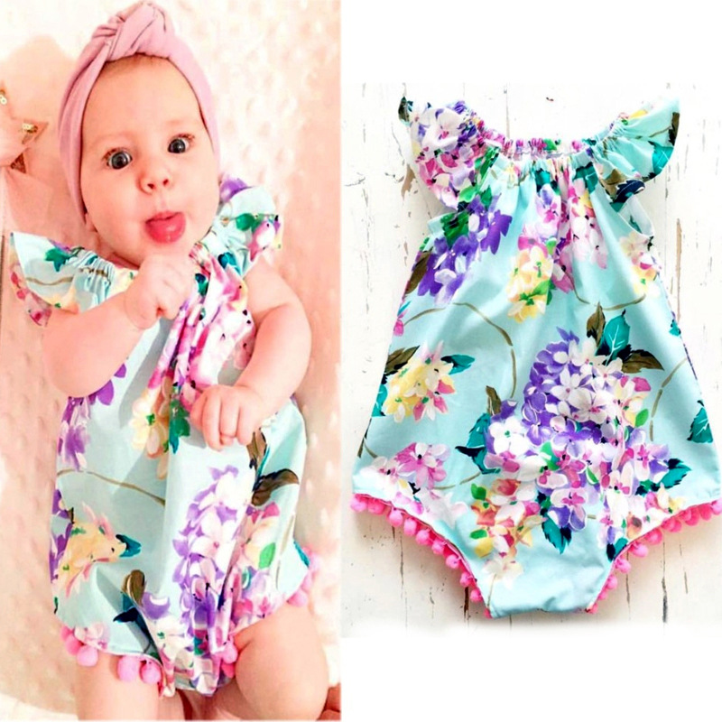 Summer Baby Rompers Floral Print Sleeveless Ruffles Baby Onepieces Newborn Baby Girls Clothing