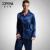 2017 Nuevos Hombres Pijama de Manga Completa Turn-Down Collar Azul de Seda de Imitación de Satén De Seda ropa de Dormir Ropa de Dormir Homewear Masculinos 3313
