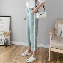 купить 2019 Harem Pant Female Trousers Casual Spring Summer Loose Cotton Linen Overalls Side Striped Pants Plus Size Candy Color по цене 611.58 рублей