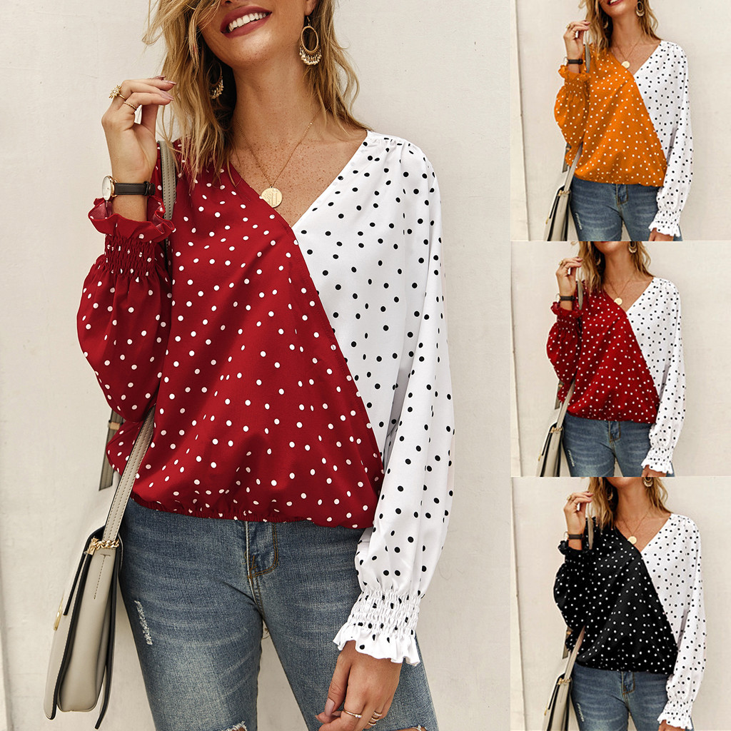 <font><b>Sexy</b></font> Women's <font><b>T</b></font> shirt Ladies 2019 Autumn Fashion Casual Dot Print Bohe Long Sleeve V-Ncek Top <font><b>T</b></font>-Shirt <font><b>haut</b></font> <font><b>femme</b></font> image