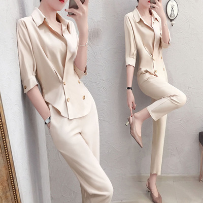 Fashion professional suit female summer New high quality casual temperament V-neck shirt + pants OL two-piece suit women 2