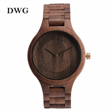 Clásico de la manera de Japón Movt Negro Nogal Madera Reloj De Cuarzo Mujeres Los Hombres de lujo Reloj Wirst A Mano De Madera Sólida Correa de Árbol reloj