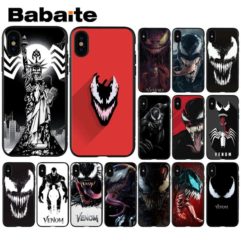 Babaite Marvel Venom Newest Super Hero Soft Phone Accessories Cell Phone Case for iPhone 8 7 6 6S Plus X XS MAX 5 5S SE XR Cover marvel glass iphone case