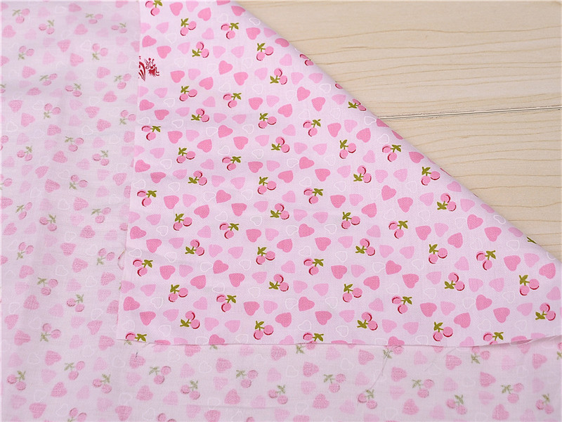 Smart Home Fashion Style 1meter Pink Flowers Cherry Fruit Printed Cotton Sewing Fabric For Baby Patchwork Quilt Home Dec Orative Pillow Cover Handicraft Distinctive For Its Traditional Properties