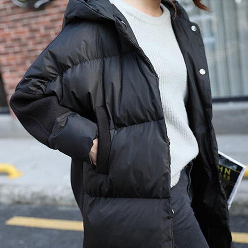 Occasionnel Le D'hiver Moyen Coton Coréen Bas Et À Veste Black Vers Capuchon Vestes Étudiant Parka Long Épais Survêtement Hiver Femme Chaud J941 IPHOzwqw