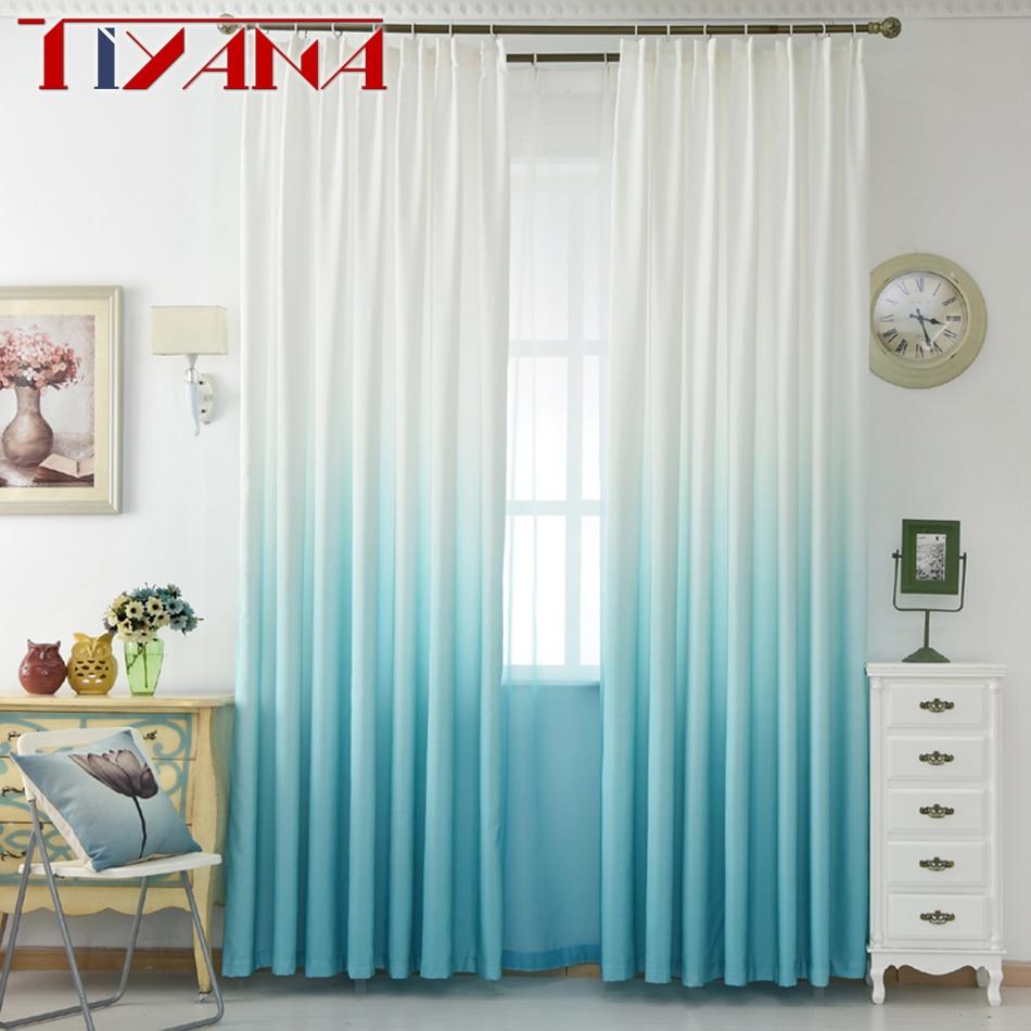 Cortinas Para A Sala De Luxo Cinza Gradiente Verde Semi Pano Apag O  -> Cortinas Para Sala Azul