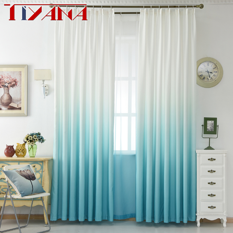 Luxury Grey Curtains For The Living Room Green Gradient Semi ...