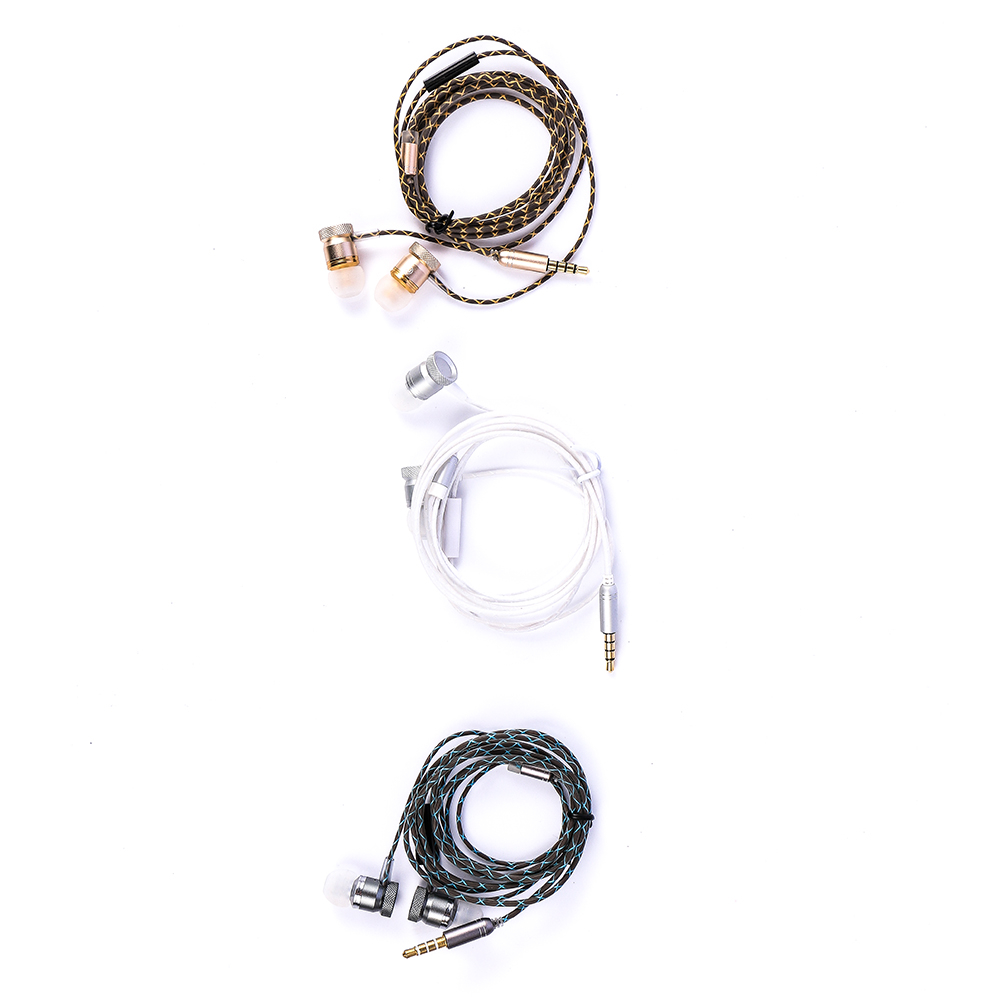High Quality Practical Metal Heavy Bass In Ear Earphone Resist Twine With Microphone Headset For MP3 Phone