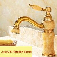 High Quality Brass Jade Basin Faucets Torneira European Luxury Golden Bath Faucets Vacuum Coating Bathroom Basin