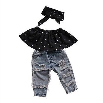 Infant Baby Girls Clothes Sets Dot Sleeveless Tops Vest Hole Denim Pants Headband 3pcs Clothing Set Baby Girl 1