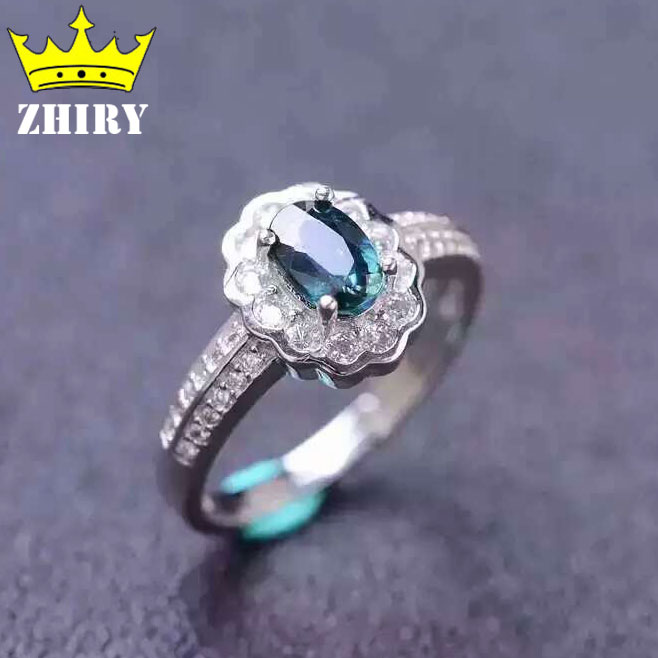 Women Natural Sapphire Stone Ring Genuine Solid Silver Gems Jewelry Rings ZHHIRY термокружка gems 470ml black sapphire 1907 34