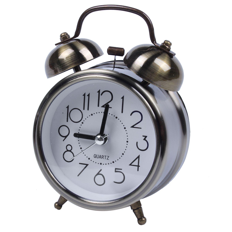 Alarm Clocks Trustful 3 Or 4 Inch European Style Retro Double Bell Alarm Clock Quartz Movement Bedside Night Light Silence Table Clock Desktop Watch