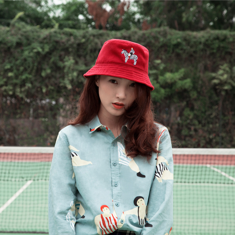 Autumn Winter New Arrival Women's Woolen Bucket Hats Playful Cartoon Embroidery Red Caps Elegant Fashion Cap Warm Lady Bow-knot Providing Amenities For The People; Making Life Easier For The Population