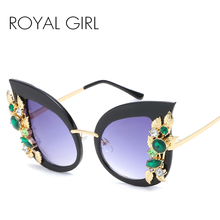 ROYAL GIRL New Cat Eye Sunglasses for Women Luxury Brand Designer Sun Glasses Mirror Shades lunette femme Oculos ss003