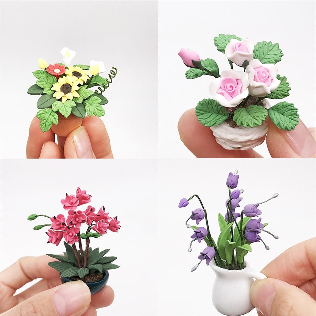 Dollhouse Miniature Flowering Shrub Purple Small Bush Round 1:12 Scale