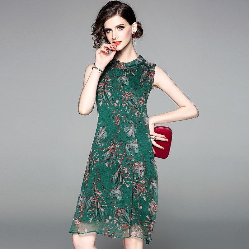 Haute Nouvelle Manches De D'été Réel Mode ligne Gracieuse Vert 80811 Réservoir Des Soie Imprimer Arc Dresse Qualité Femmes 2018 Sans A Robe rwZIrq