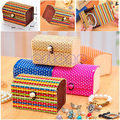 Free Shipping 1X Vintage Ring Earrings Necklace Display Bamboo Wooden Case Jewelry Storage Box ZB380