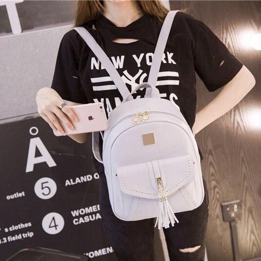 New Women Backpack Youth Teenage Girls Leather Backpacks for Female Bagpack mochila School Shoulder Bag Tassel High Quality D127