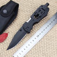 Outdoor Camping Folding Knife Flashlight Screwdriver Hunting Pocket Knife Tactical Survival Knives Portable Rescue EDC Tools