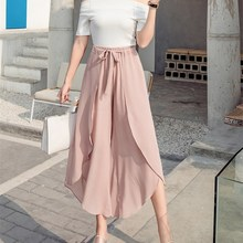 2019 Women Loose Solid Wide Leg Pants Casual Chiffon Lace-Up High Waist Ruffles Boho Trousers Asymmetrical Split Skirts Pants