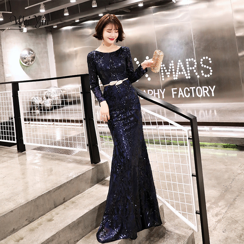 weiyin Luxury Navy Blue Sequined Mermaid Tulle   Evening     Dress   O-Neck Long Sleeves Elegant   Evening   Gowns 2019 Real Photo WY1429