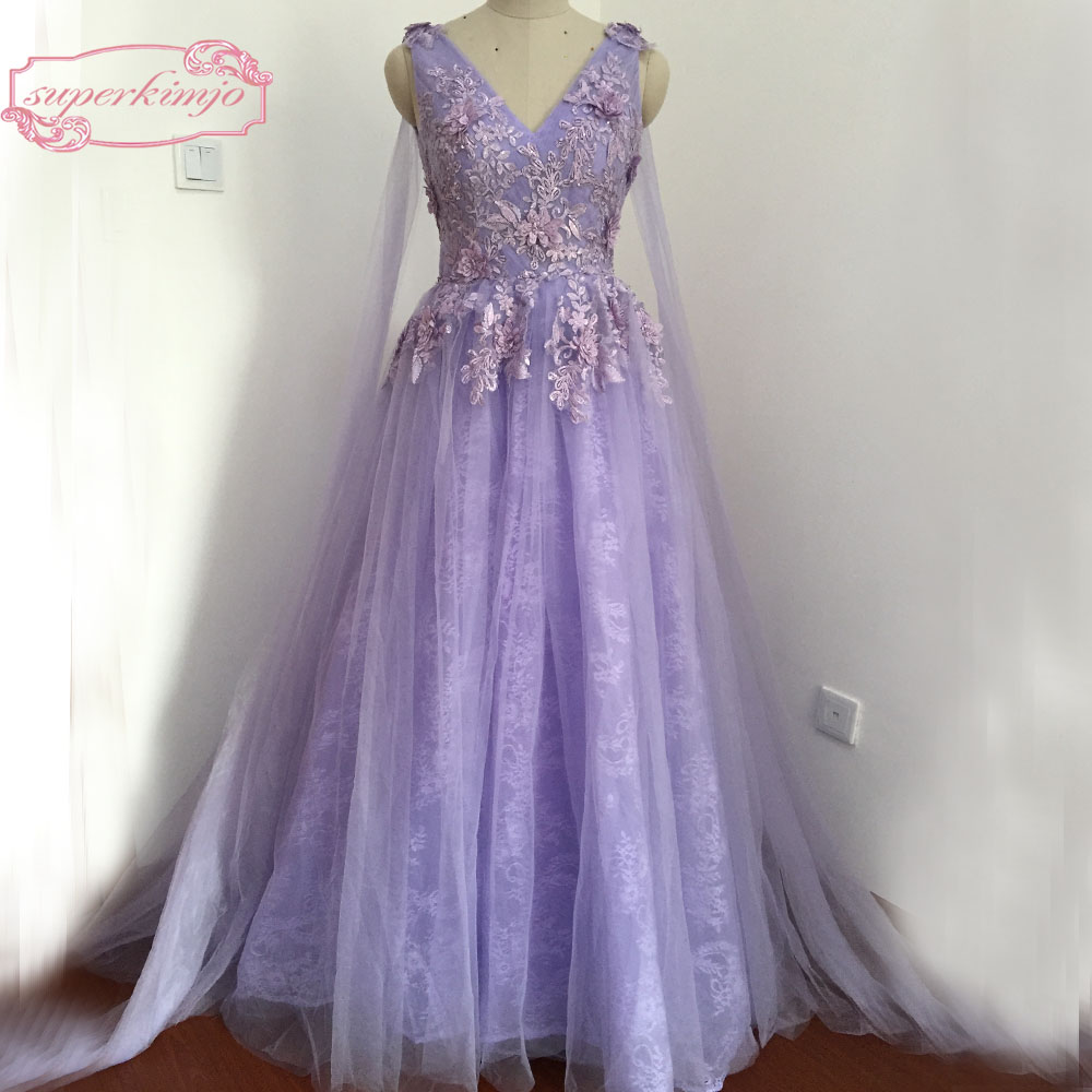 13dfaf67e120 Actual Image Evening Dresses Court Train Backless V Neck Shoulder Sashes  Hand Made Flowers Lace Prom Dresses Purple Real Picture ~ Top Deal July 2019