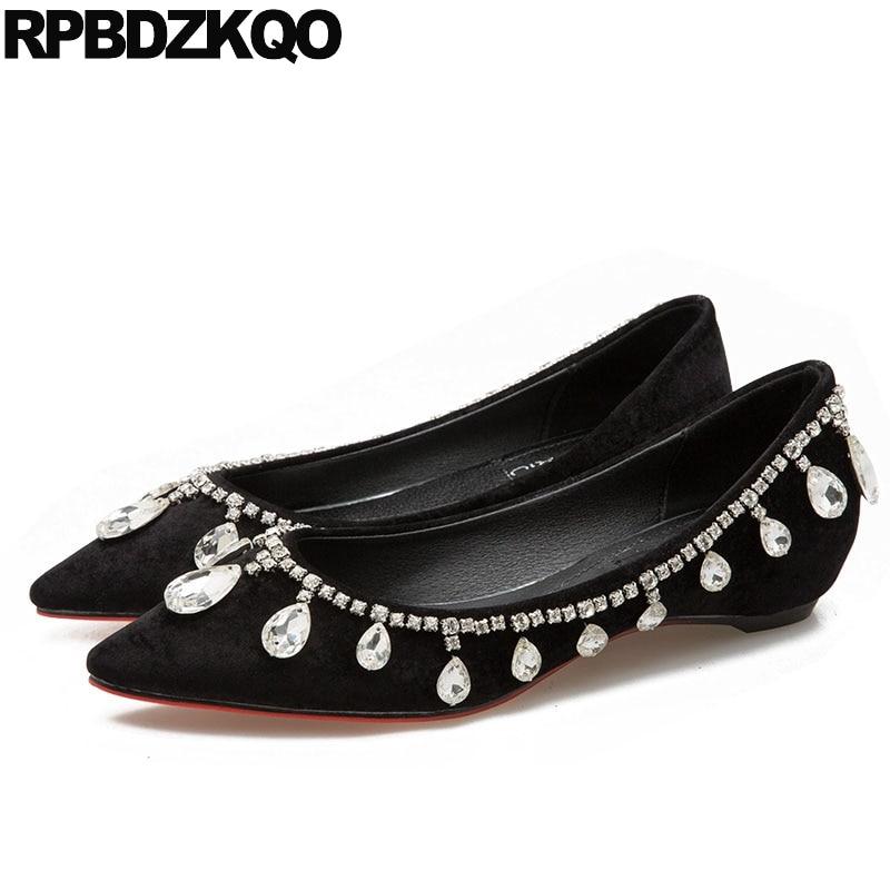 Women Dress Shoes Black Height Increasing Crystal Elevator Beautiful Rhinestone Flats Suede Chinese Nude Wedding Pointed Toe