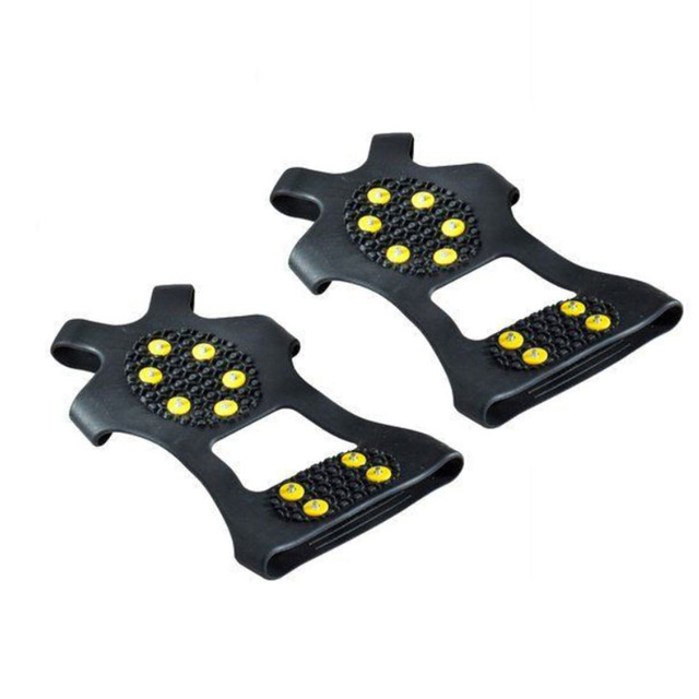 1 Pair S M L 10 Studs Anti-Skid Snow Ice Climbing Shoe Spikes Ice Grips Cleats Crampons Winter Climbing Anti Slip Shoes Cover 2