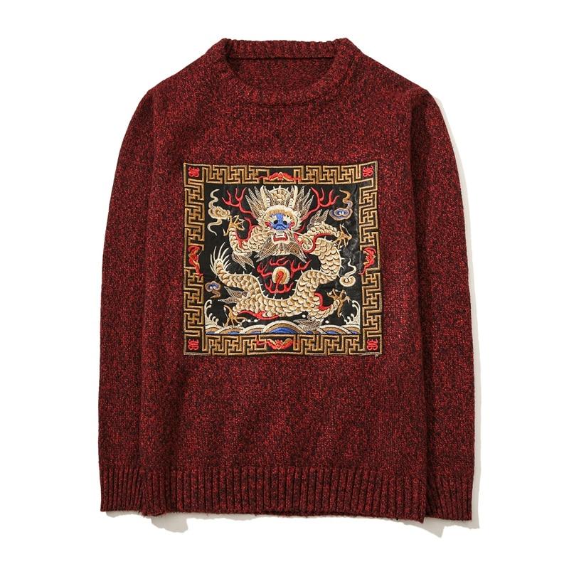Nouveau automne hiver Dragon broderie hommes chandail à manches longues col rond tricoté pulls garçons grande taille 5XL décontracté hommes chandails
