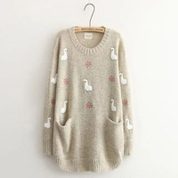 Autumn Winter Sweater Women 2018 Japanese Mori Long sleeved Pregnant Embroidery Pullovers Knit Loose Women Tops S141