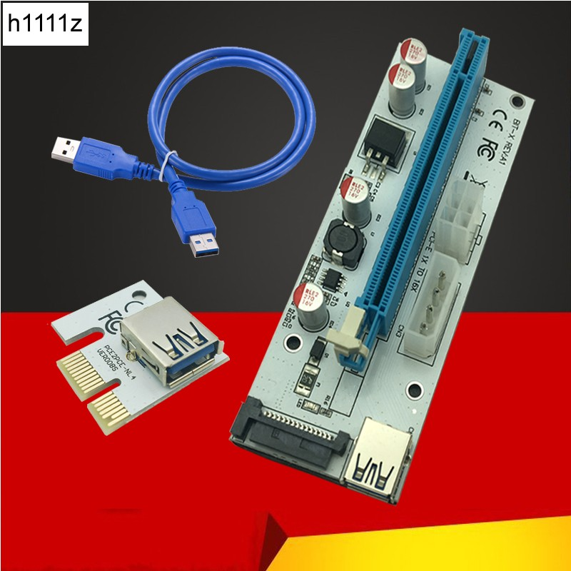 3 in 1 4pin molex pci-e riser 008 card 6pin riser sata 60cm pcie 1x to 16x pci express riser card for antminer bitcoin miner riser pci e x16 pcie pci express 16x to 16x riser extender card with molex ide power