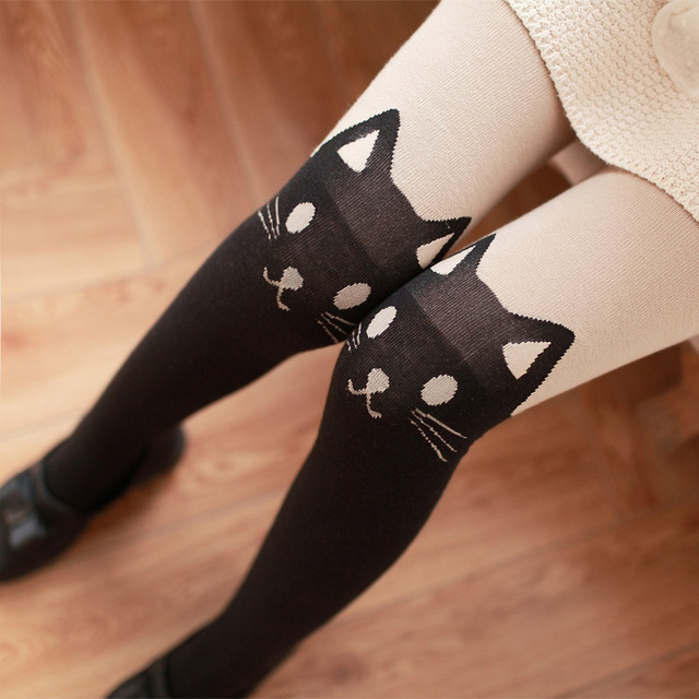 Autumn Winter Women Cotton False Thigh Knee Cat High Tube Pantyhose Thick Warm Cat Head Tail Tights