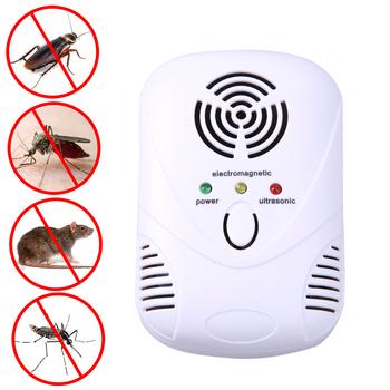 110-250 V 6 W ultradźwiękowa mysz elektroniczna zabójca mysz pułapka na karaluchy odstraszacz komarów owady szczury pająki kontrola US ue wtyczka tanie i dobre opinie SANGEMAMA Myszy Muchy Ultrasonic Pest Repellers 110-240 v Blue+White ABS Fuel shutoff material approx 9*6cm 3 54*2 36